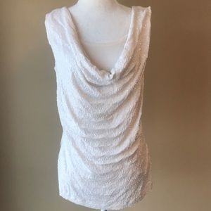 Cream Sleeveless Top w/ Sequins